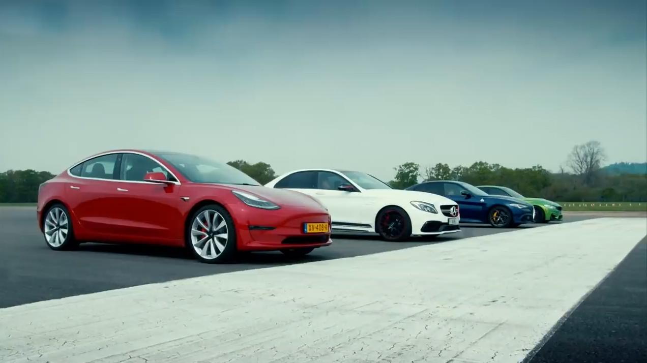 特斯拉Model 3对战Giulia、M3、C63s
