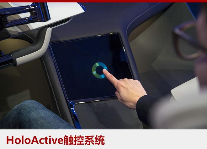 BMWHoloActive触控系统由一块屏幕、一个捕捉手动作的摄像头和一个超声波装置组成。无需物理接触,可实现反馈式控制的人机交互系统。采用平视显示系统的原理,将信息内容投射在驾驶者手边的屏幕上,摄像头可以识别车主的手势,超声波装置则可以让手指感受到空气的压力反馈,保留了传统触屏的触觉。